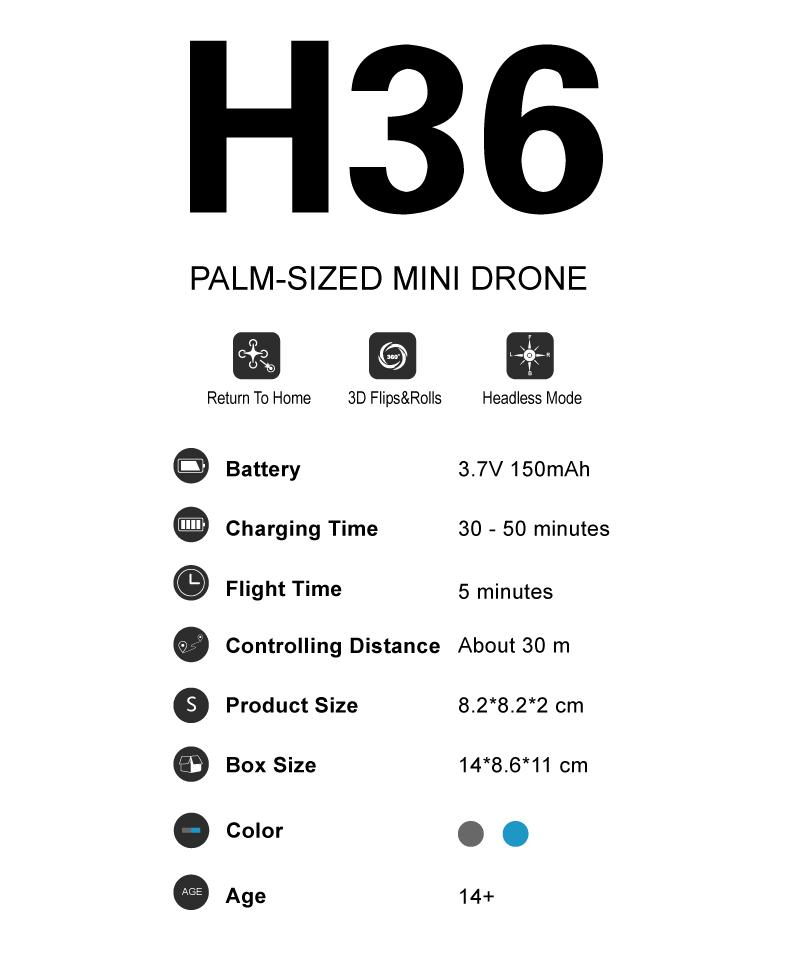 JJRC Mini Dron H36 Specs
